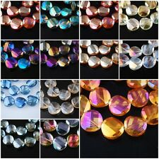 14mm Charms Faceted Twist Tile Helix Glass Crystal Findings Loose Spacer Beads