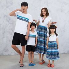 Summer Beach Family Outfits Clothes Father Boy T-shirt Tops Mother Girls Dresses