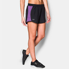 Under Armour Fly By Womens Purple Black Running Gym Sports Shorts Pants Bottoms