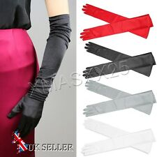 UK Ladies Satin Evening Party Wedding Bride Dress Long Finger Gloves Red Black