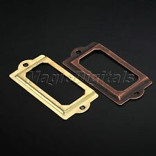 12 Iron Cabinet Drawer Label Tag Pull Frame Handle File Name Card Holder +Screws