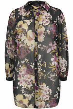 Yoursclothing Plus Size Womens Floral Print Longline Shirt