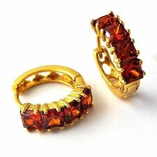 Yellow gold filled cute Red Ruby Emerald Womens Girls lucky round Hoop Earrings