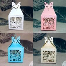 50pcs Laser Cut Butterfly Wedding Favor Ribbon Candy Boxes Gift Box