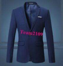 Dress Men's Casual Slim Fit One Button Suit Blazer Coat Solid Jackets All Size
