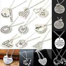 Heart Love Family couple Necklace gold Silver Pendant Women Charm Chain Jewelry