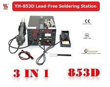 YIHUA 3in1 Soldering Station SMD Rework Iron Hot Air Gun DC Power 853D 5A 2A 1A