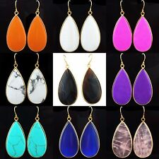 Turquoise/Agate/Rose Quartz Crystal Gemstone Stone Dangle Water Drop Earring