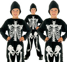 Childrens Kids Skeleton Fancy Dress Costume Halloween Boys Outfit 2-10 Yrs