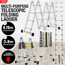 3.8M 5.0M Telescope Telescopic Aluminium Ladder safety 150KG UK STOCK
