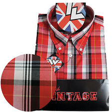 Warrior Short Sleeve Button Down Shirt COOK Mod Skinhead Red White Black Yellow