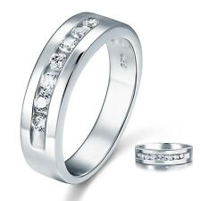 Men's Created Diamond Bridal Wedding Band Solid 925 Sterling Silver Ring