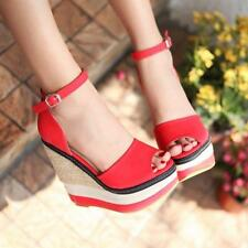 Women Peep Toe Platform Buckle Ankle Strap Chunky Wedge Pumps Sandals Shoes