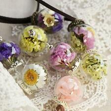 Charming Handmade Crystal Glass Ball Flower Necklace Leather Chain Pendant