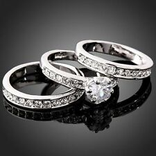 3-in-1 Clear Crystals CZ 18K White Gold Plated Engagement Wedding Band Ring