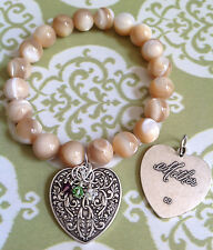 "Mother's Day Mother Charm ""Mother of Pearl"" Bracelet with Optional Birthstones"