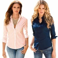 Womens OL Slim Fit Long Sleeve Blouse Button Down Shirt Top Casual Solid Blouse