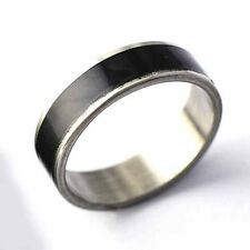 Vintage  Mens Black Enamel Stainless Steel Band Ring Size 7-11 Free Shipping