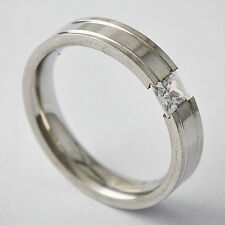 Womens Titanium Stainless Steel Clear Square CZ Band Ring Size 6 7 8 10