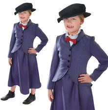 Childrens Kids Nanny Fancy Dress Costume Mary Poppins McPhee Outfit 6-10 Yrs
