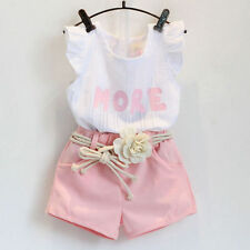 Fashion pink clothes set for girl clothing set suit with flower belt kid clothes