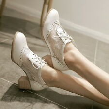 Free PP Womens Summer Mesh Floral Lace Oxfords Cuban Heel Summer Shoes PLus Size