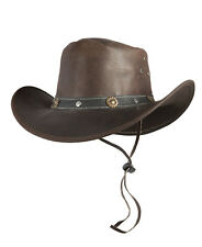 Western hat TEXAS Cowboy from leather with Chin strap brown Sizes S, M, L, XL