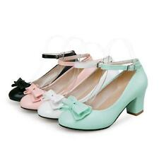 New Womens Lolita Mary Janes Chunky Heels Ankle Strappy Bowknot Pumps Shoes