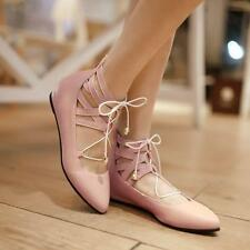 Womens grace ballet flats faux leather strappy pointed toe ankle lace up shoes