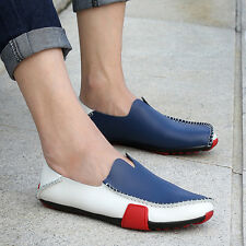 Fashion Leather Men Flats Shoes Moccasins Loafers Slip On Casual Driving Shoes