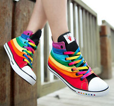Korean Style Multi Color Womens Rainbow High Top Sneaker Boot Shoes Fashion New