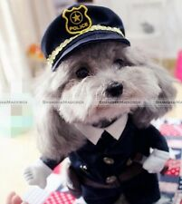 Pet Dog Cat Costume Uniform Clothes With Hat Halloween Cosplay Police Men