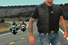 Leather motorcycle Waistcoat.Mens Motorcycle Leather Vest. Highway Vest..
