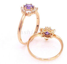 Women Girl 18K Yellow Gold Plated Violet CZ Cubic Heart Birthday Ring Size M N O