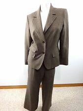 EAST 5TH WOMENS BROWN TWEED POLY RAYON SPANDEX PANT SUIT SIZE 12
