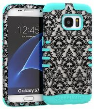 Samsung Galaxy S7 Case, Hybrid Impact Cover White Damask Flower on B Teal Skin