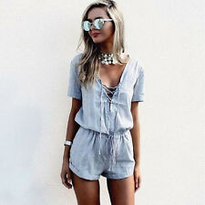 Women Blue Casual Short Sleeve Short Jumpsuits Summer Sexy Deep V-neck Rompers