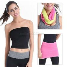 Seamless Stretch Bandeau Bra Cropped Tube Top Strapless Layering Tank ONE SIZE