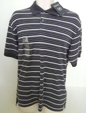IZOD Men's Navy Blue Striped Short Sleeve Polo Size Medium NWT