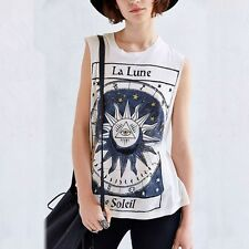 Summer Women Sexy O Neck Sleeveless Casual Vest Printed Loose Blouse Cool Shirt