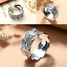 S999 Sterling Silver Engraved Leaf Adjustable Finger Band Statement Ring Jewelry