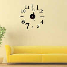 Modern Art DIY Large Wall Clock 3D Sticker Design Home Office Room Decor Black