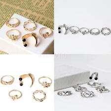 Set of 5 Multiple Finger Stack Knuckle Band Ring Set Womens Jewelry