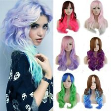 Long Wavy Lolita Multi color Costume Cosplay Wig Rainbow Full wigs Anime party