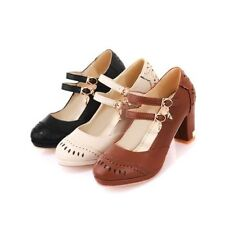 Womens Block High Heel Platform Brogue Chelsea Mary Janes Shoe Plus Size Vogue