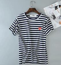 Mens Comme Des Garcons CDG Play Classic Striped Red Heart Short Sleeve T-shirts