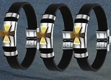 Vogue Gold Cross Stainless Steel & Black Bracelet Silicone Wristband Bangle SM