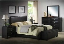 Upholstered Bed Frame Faux Leather Full Queen King Size w/ Headboard Furniture