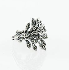 Vintage Abstract 925 Sterling Silver Marcasite Leaf Motif Pattern Statement Ring