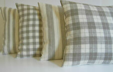 Taupe and Cream Linen Pin Stripe Gingham Check Choice of Pattern and Size